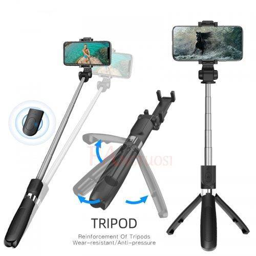 Wireless Bluetooth Selfie Stick 3 in 1 Extendable Handheld Monopod With Remote Shutter Mobile Phone Accessories Selfie Sticks & Tripods cb5feb1b7314637725a2e7: Black black black