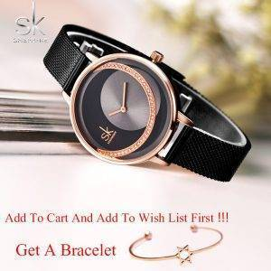 SK Fashion Luxury Brand Women Quartz Watch Wrist Watches cb5feb1b7314637725a2e7: Black M Rose Black M Rose White L Silver L