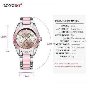 LONGBO Fashion Luxury Ceramic Alloy Wristwatch Wrist Watches cb5feb1b7314637725a2e7: Pink|WHITE
