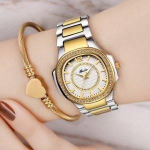 Stainless Steel Gold Female Diamond Wristwatch Wrist Watches cb5feb1b7314637725a2e7: 2549-1|2549-2|2549-3